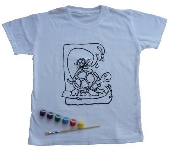 Weisse Kinder T Shirts Aus Baumwolle Zum Bemalen Mit Ausmalbild