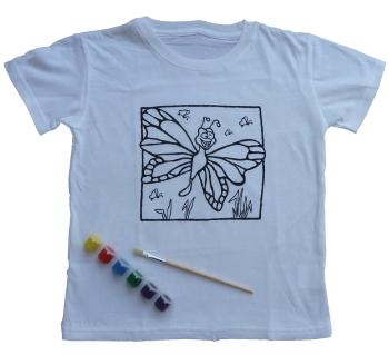 wei es kinder t shirt mit ausmalmotiv f r stoffmalfarben vorgedrucktes bild auf tshirt zum. Black Bedroom Furniture Sets. Home Design Ideas